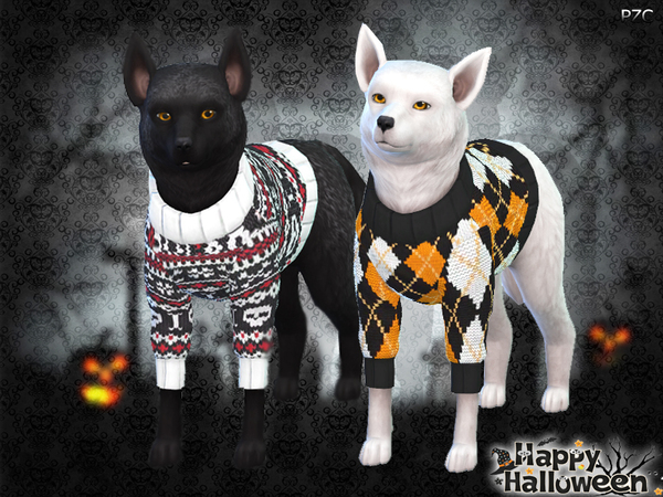 Halloween Sweaters For Small Dogs by Pinkzombiecupcakes at TSR image 2925 Sims 4 Updates