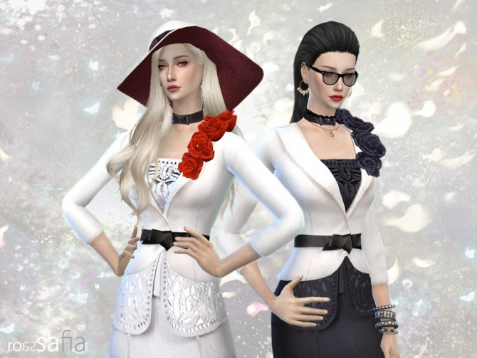 Sims 4 Rosa Safia F outfit + hat at HoangLap's Sims