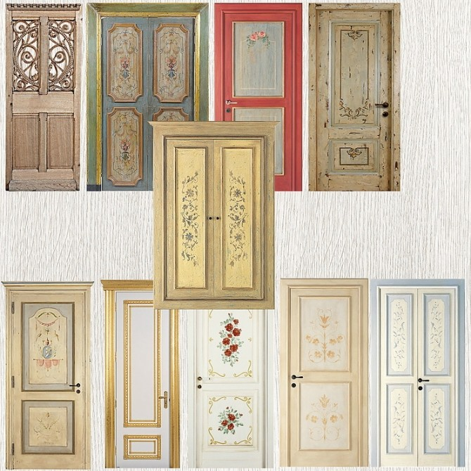 Wall Sticker old Doors by TaTschu at Blooming Rosy image 2983 670x670 Sims 4 Updates