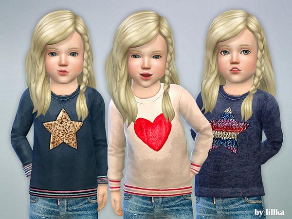 Sims 4 Designer Shirt for Toddler Girls P08 by lillka at TSR