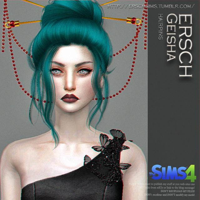 Sims 4 Geisha Hairpins at ErSch Sims