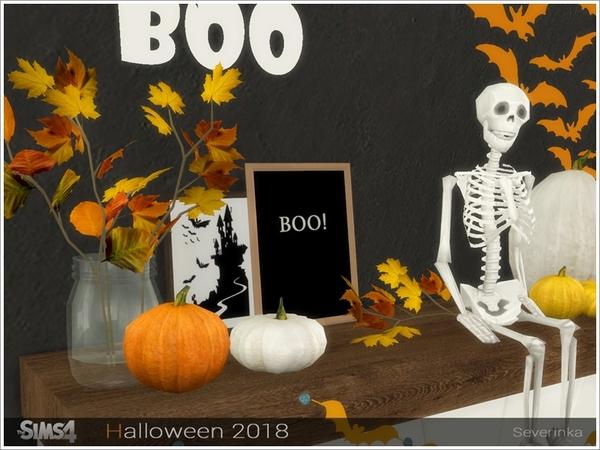 Sims 4 Halloween 2018 decorative set by Severinka at TSR