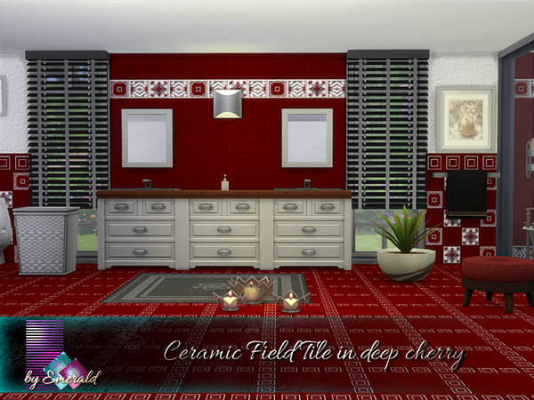 Sims 4 Ceramic Field Tile in deep cherry by emerald at TSR