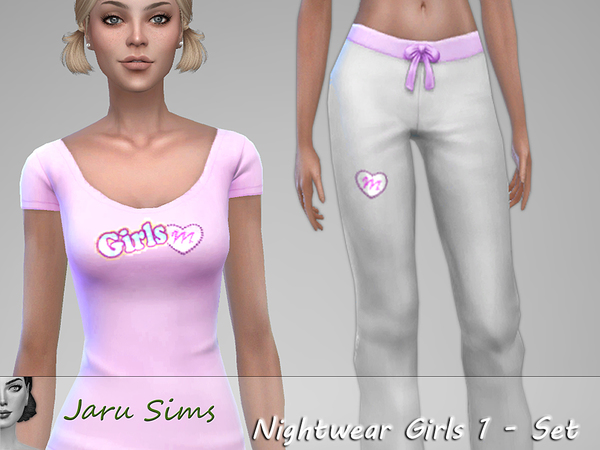 Sims 4 Nightwear Girls 1 Set by Jaru Sims at TSR