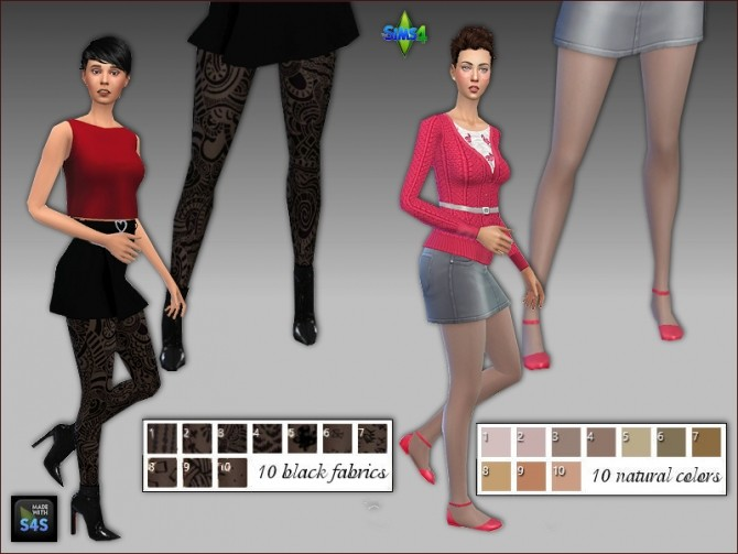 2 sets of tights in natural colors and black patterned by Mabra at Arte Della Vita image 433 670x503 Sims 4 Updates