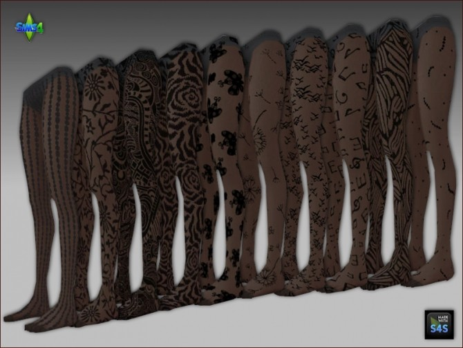 2 sets of tights in natural colors and black patterned by Mabra at Arte Della Vita image 453 670x503 Sims 4 Updates