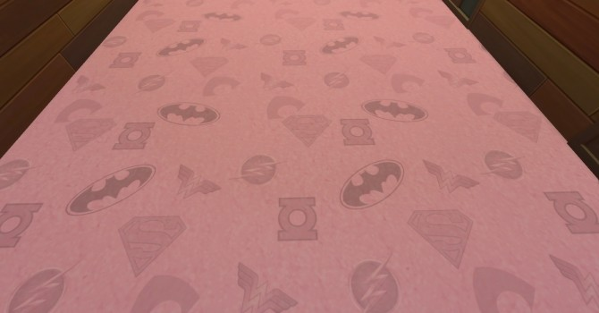 Sims 4 Dc Comics Hero Logo Carpet in 7 colors by NicoletteAunreel at Mod The Sims