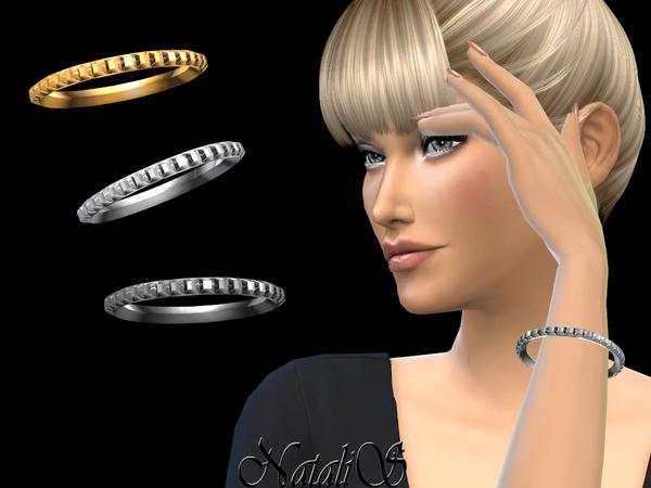 Sims 4 Square studs bangle bracelet by NataliS at TSR