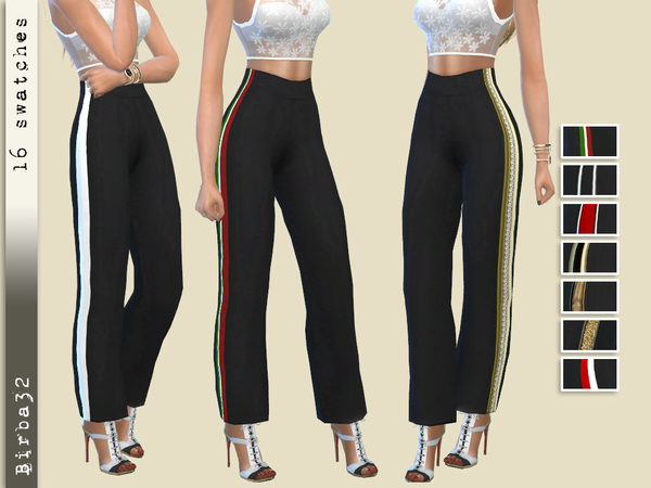 Sims 4 Wide line trousers by Birba32 at TSR