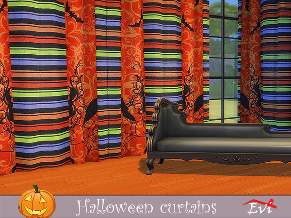 Sims 4 Halloween curtains by evi at TSR