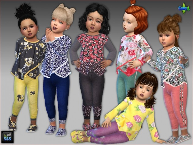 Sims 4 Shirts, jeans and shoes for toddler girls by Mabra at Arte Della Vita