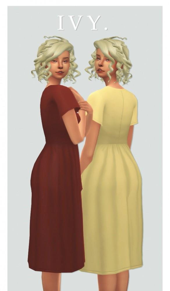 Sims 4 Kumikya's ivy dress recolour at cowplant pizza