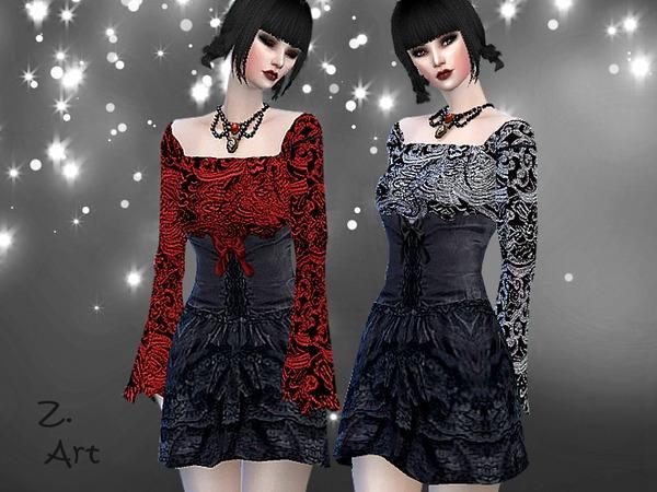 Sims 4 GothChic V mini dress with ruffled skirt by Zuckerschnute20 at TSR