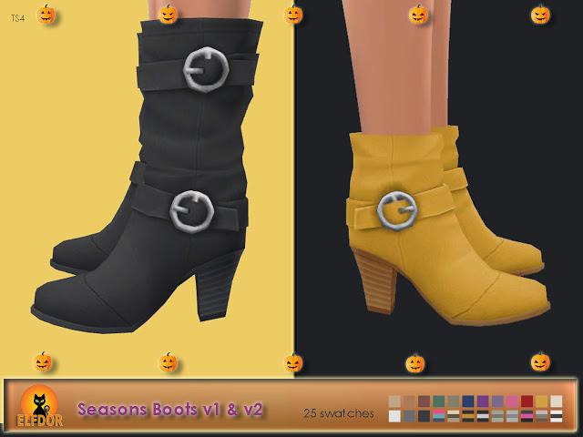 Sims 4 Seasons Boots Long & Short at Elfdor Sims