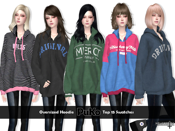 Sims 4 PUKO Oversize Hoodie by Helsoseira at TSR