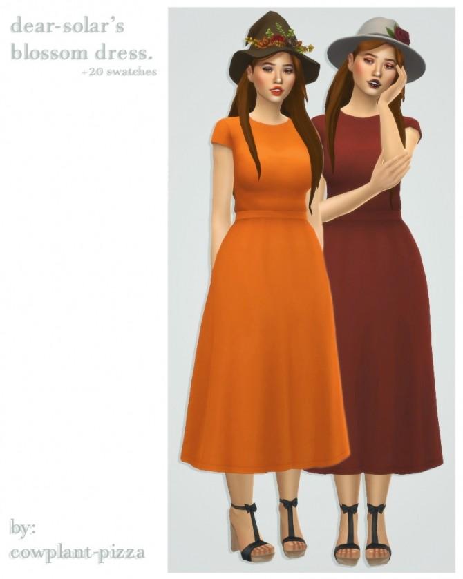 Sims 4 Dear solar's blossom dress recolours at cowplant pizza
