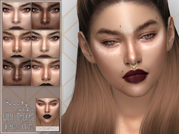 IMF Beauty marks with freckles by IzzieMcFire at TSR image 6813 Sims 4 Updates