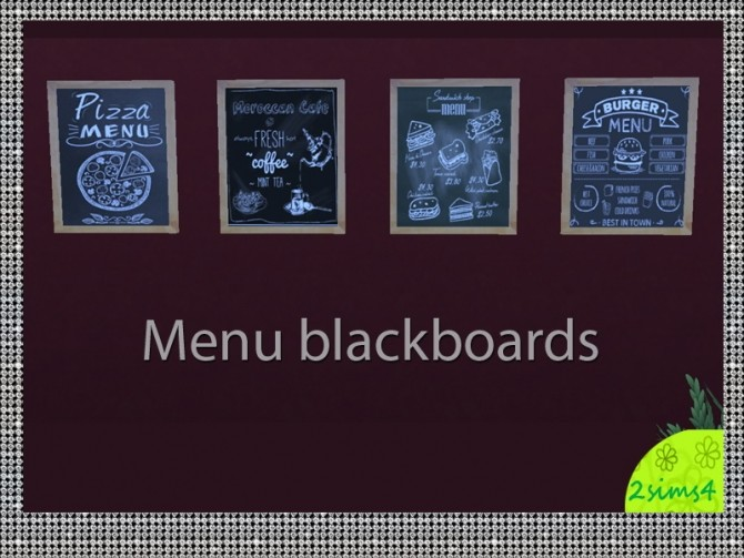 4 blackboards for restaurants by lurania at Mod The Sims image 7116 670x503 Sims 4 Updates