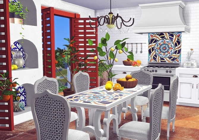 Sicilian Ceramic Set Wall, Dining Table and Backsplash by Sooky at Blooming Rosy image 722 670x474 Sims 4 Updates