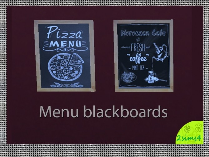 4 blackboards for restaurants by lurania at Mod The Sims image 7313 670x503 Sims 4 Updates