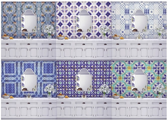 Sicilian Ceramic Set Wall, Dining Table and Backsplash by Sooky at Blooming Rosy image 742 670x484 Sims 4 Updates