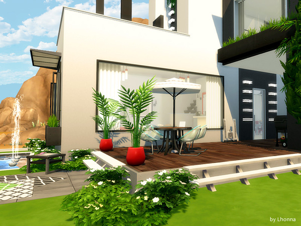 Sims 4 Geometry modern house by Lhonna at TSR