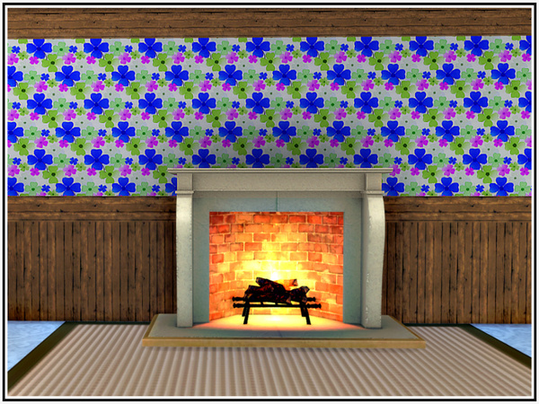 Sims 4 Flowery Showery Walls by marcorse at TSR
