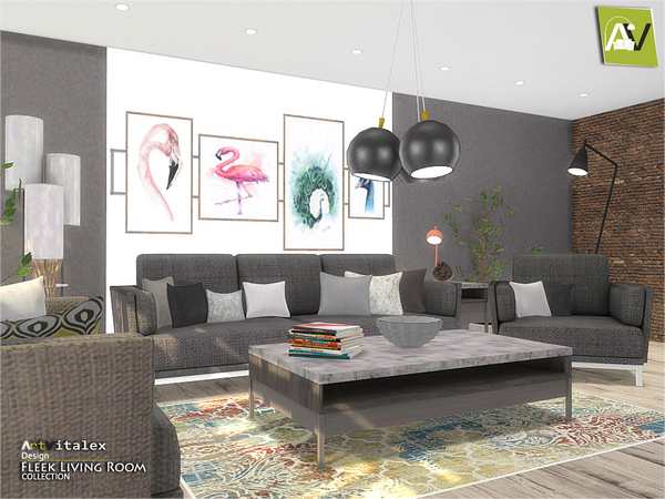 Fleek Living Room by ArtVitalex at TSR image 864 Sims 4 Updates