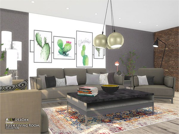 Fleek Living Room by ArtVitalex at TSR image 874 Sims 4 Updates