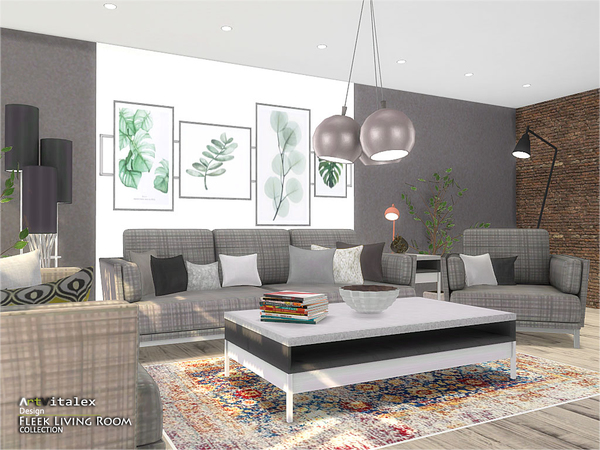 Fleek Living Room by ArtVitalex at TSR image 884 Sims 4 Updates