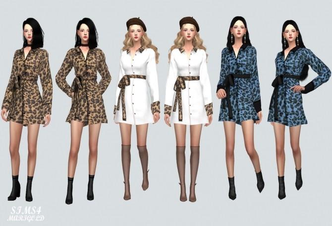 Sims 4 Leopard Shirt Mini Dress at Marigold