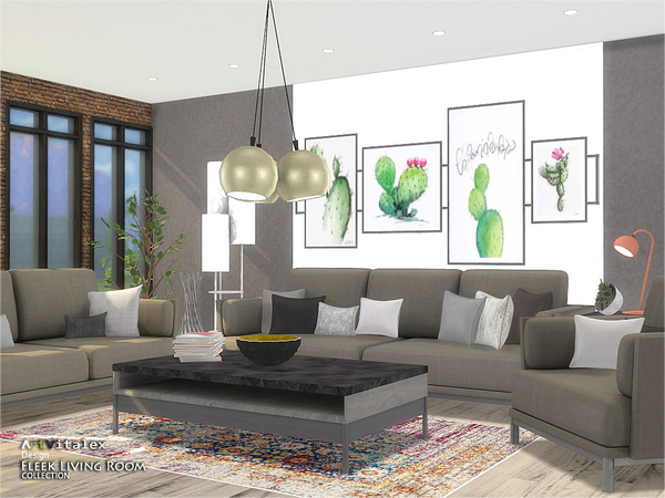 Fleek Living Room by ArtVitalex at TSR image 904 Sims 4 Updates