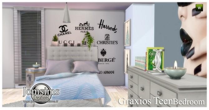 Sims 4 Graxios teen bedroom at Jomsims Creations