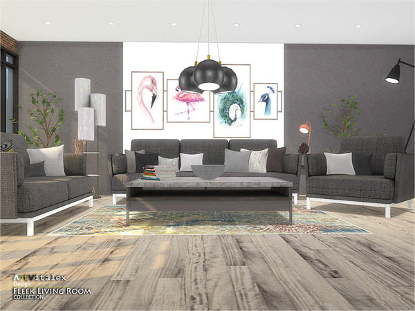 Fleek Living Room by ArtVitalex at TSR image 924 Sims 4 Updates