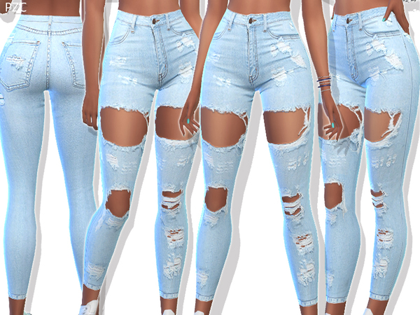 Sims 4 Ripped Denim Jeans 049 by Pinkzombiecupcakes at TSR