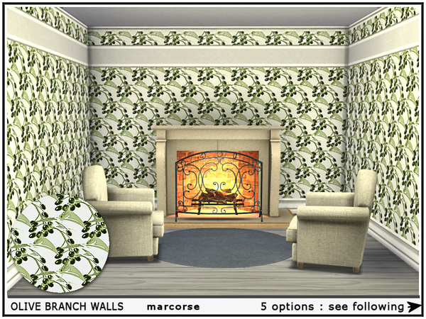 Olive Branch Walls by marcorse at TSR image 955 Sims 4 Updates