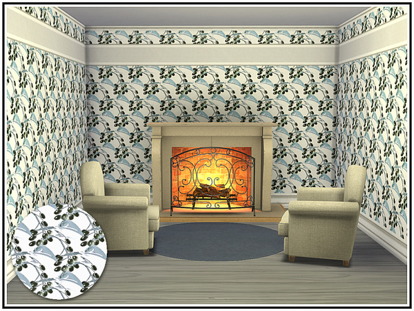Sims 4 Olive Branch Walls by marcorse at TSR