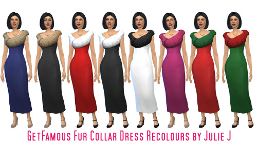 Sims 4 Get Famous Female Fur Collar Dress Recolours at Julietoon – Julie J