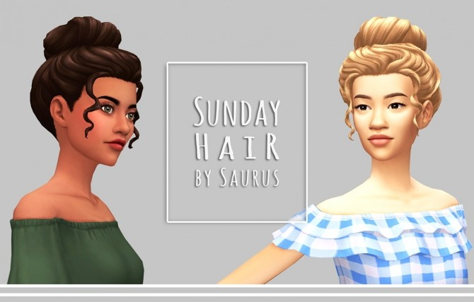 Sims 4 Sunday hair at Saurus Sims