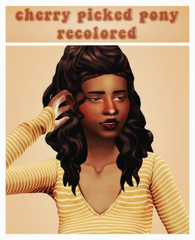 Sims 4 Leeleesims1 cherry picked ponytail recolours at cowplant pizza