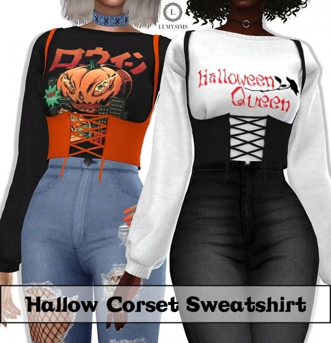 Sims 4 Hallow Corset Sweatshirt at Lumy Sims