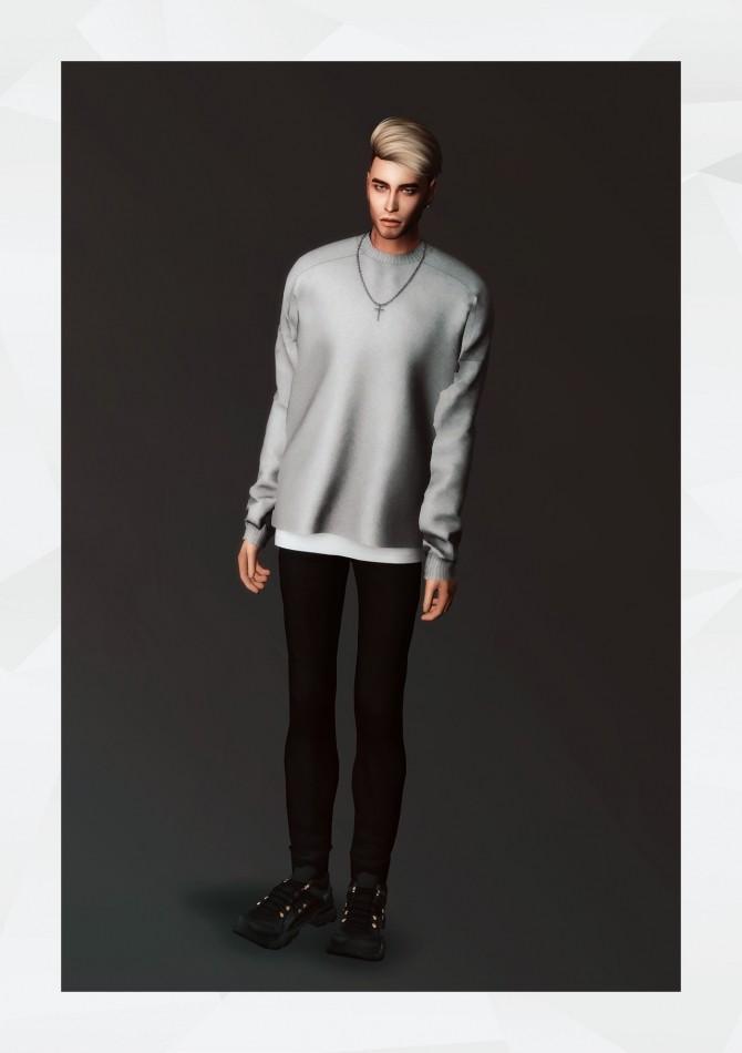 Sims 4 Layered Sweatshirt & Cross Necklace at Gorilla