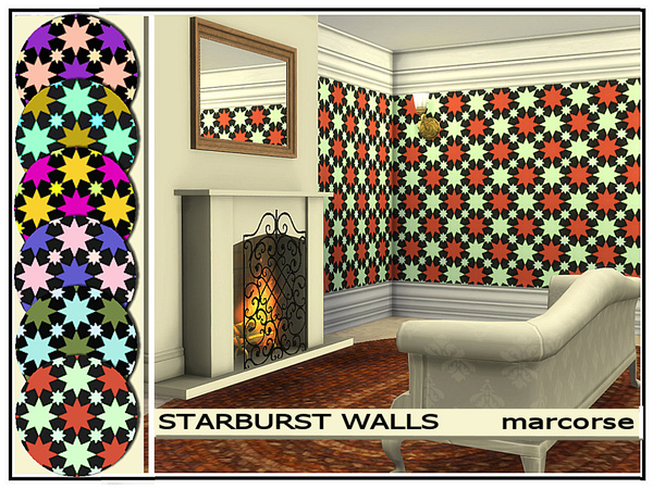 Sims 4 Starburst Walls by marcorse at TSR