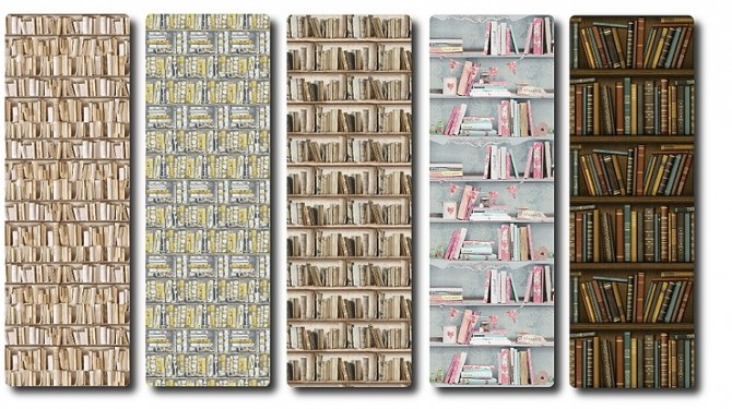 Wallpaper Set Bookshelf By Tatschu At Blooming Rosy Sims 4
