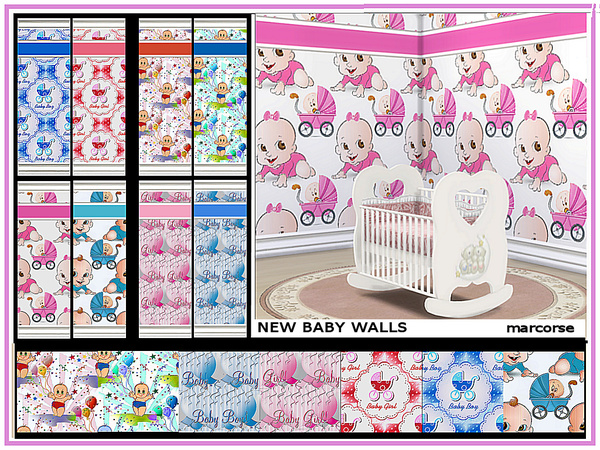 Sims 4 New Baby Walls by marcorse at TSR