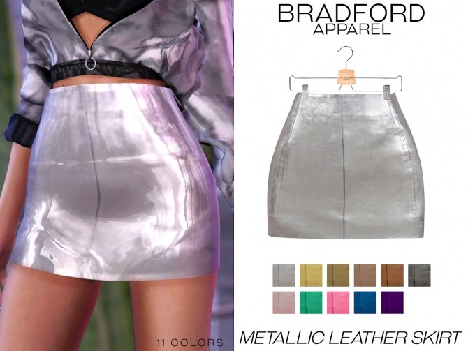 Metallic Leather Skirt by Victoria Kelmann at MURPHY image 1254 670x503 Sims 4 Updates