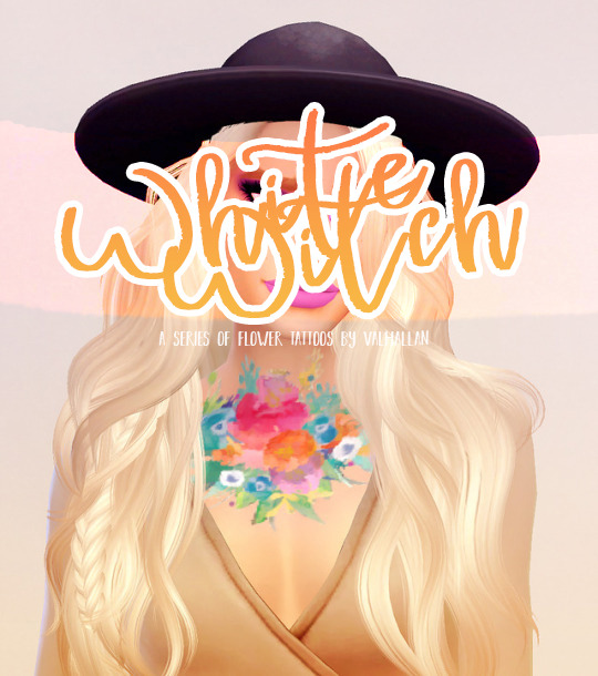 WHITE WITCH watercolour flower tattoos at Valhallan image 132 Sims 4 Updates