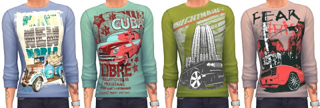 Sims 4 Male Print Shirts at Annett's Sims 4 Welt