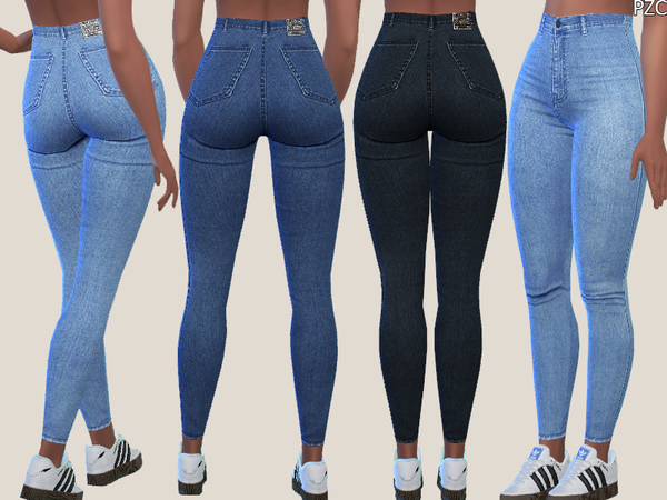 Sims 4 Denim Skinny Jeans 015 by Pinkzombiecupcakes at TSR