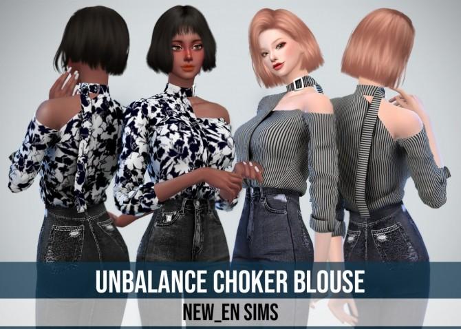 Sims 4 Unbalance Chocker Blouse at NEWEN